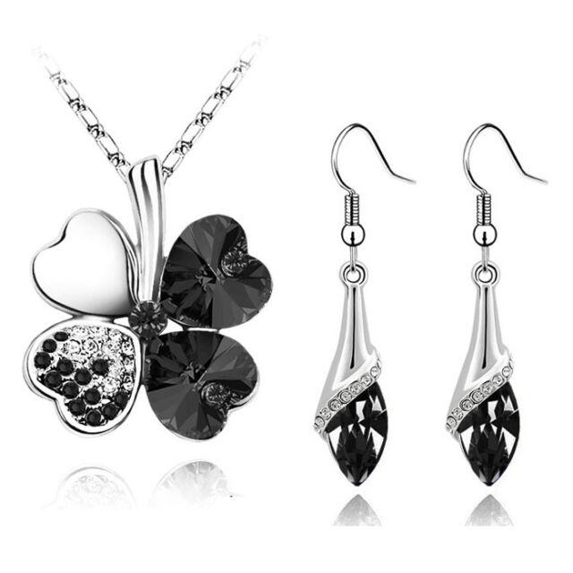 Elegante Argento Cristallo Nero Trifoglio Set Gioielli Orecchini A Goccia &