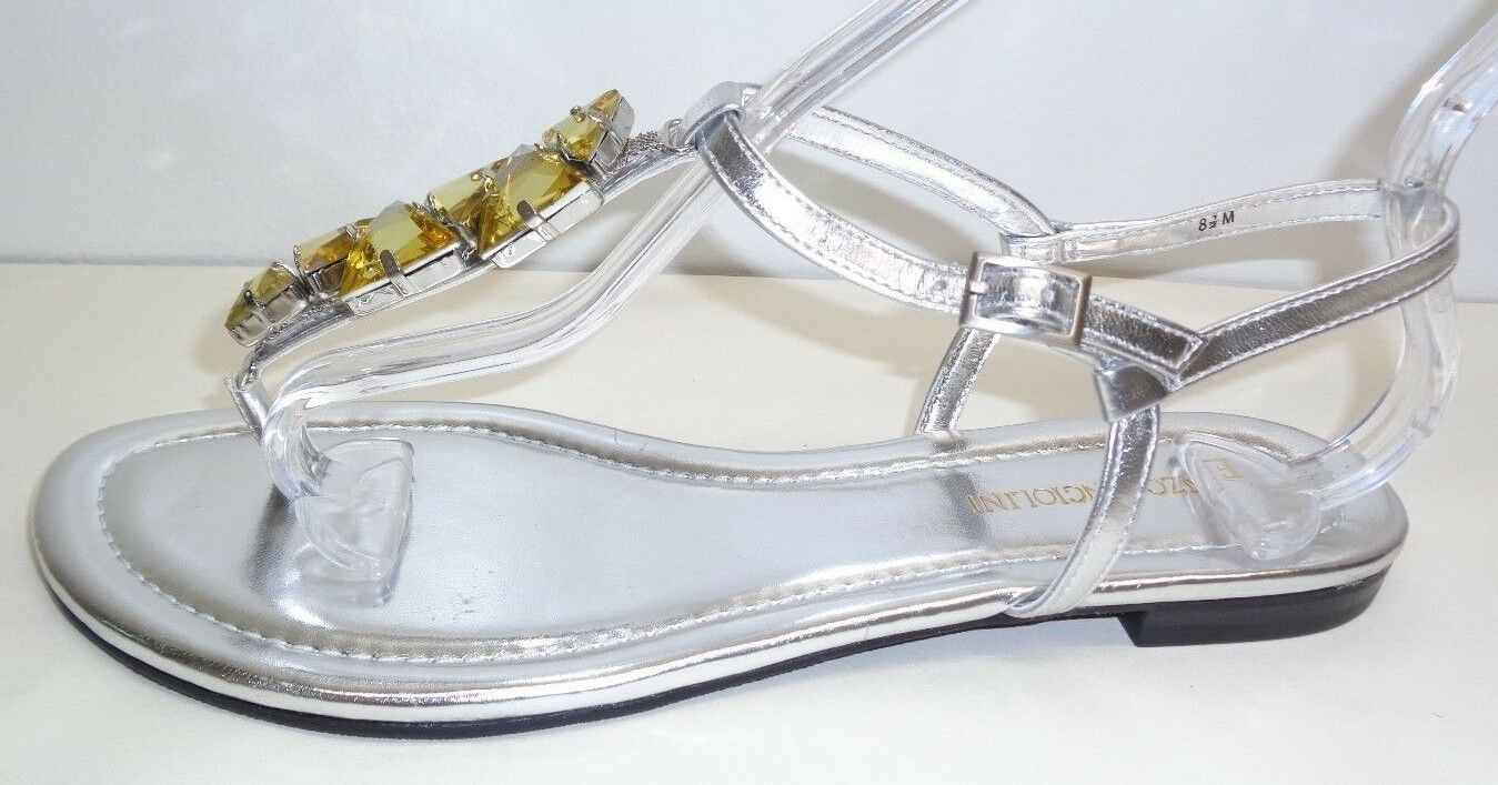 Enzo Angiolini Größe 8.5 M TOOTSY Silver Jewel Thong Sandales NEU Damenschuhe Schuhes