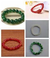 Real Natural Jade Jadeite Gems Round Beads Stretchy Bangle Bracelet