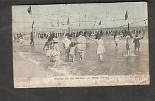 1908 Coney Island beach post card Brooklyn Station V flag cancel to Liverpool NY