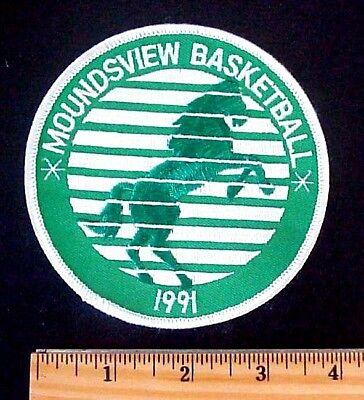"MINNESOTA MOUNDSVIEW HIGH SCHOOL MUSTANGS 1991 BASKETBALL 4/"" PATCH TAIWAN"