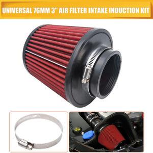 Performance-Haute-Couler-Cone-Filtre-a-Air-76mm-3-034-Pouce-Diametre-ROUGE-CHROME