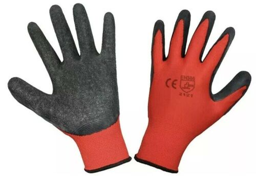Size 10//XL Red//Black 12 Pairs Latex Coated Heavy Duty Working Gloves Nylon New