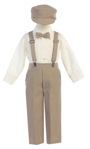New Baby Toddler Kids Boys Charcoal Suspender Pants Outfit 5 pc Set Easter G829