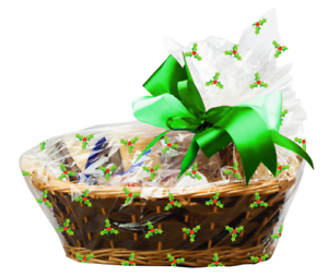 One large Holly Christmas basket bag 24x25inch