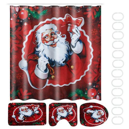 Christmas Bathroom Shower Curtain Pedestal Rug Lid Toilet Cover Bath Mat Decor