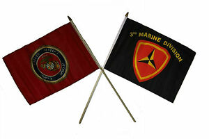 "12x18 12""x18"" Wholesale Combo Marines Red & 3rd USMC Marine Division Stick Flag"