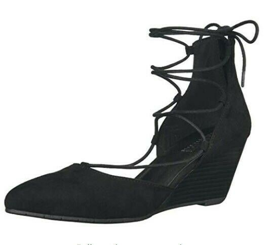 Kenneth Cole REACTION Women's Stand Down Down Down Wedge Pump LACE-UP color Black Size 7 2a7b3e