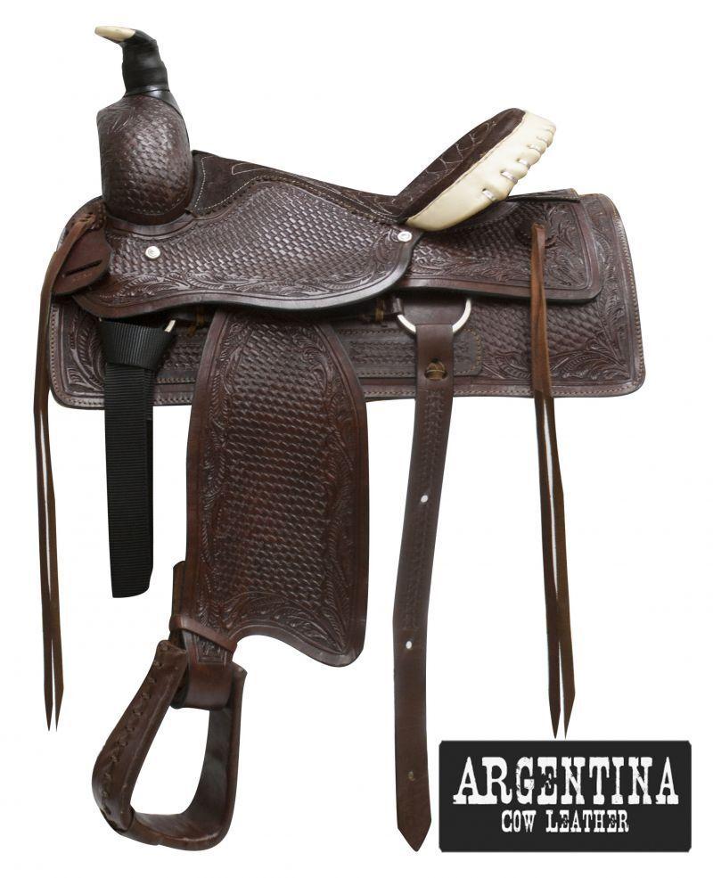 Buffalo argentoina cow leather roper style saddle.16