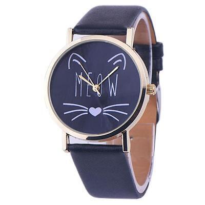 Cat Pattern Women's Watch Leather Band Stainless Steel Analog Quartz Wrist Watch