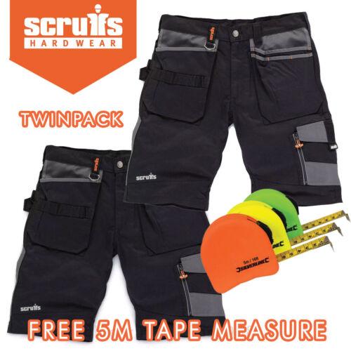 Scruffs Black Work TWINPACK shorts MultiPocket Combat TRADEPACK w//FREE 5m TAPE