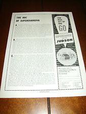 1961 JUDSON SUPERCHARGER MG-A TRIUMPH TR3 MERCEDES 190SL VW   ***ORIGINAL AD
