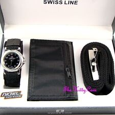 Designer Black Silver Mens Gents Watch, Belt & Wallet Boxed Gift Set Fathers Day