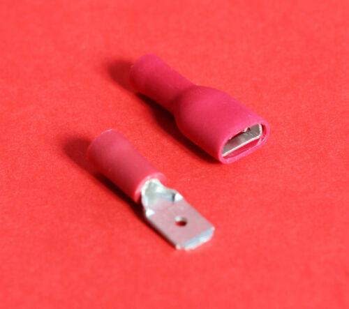 """/"""" 50/"""" Rojo 6.3mm hembra conector macho Spade aislado//Crimp en terminales /""""NUEVO/"""""""