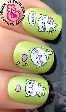 Nail Art Wrap Agua calcomanías de transferencia de Cute Kitty Blanco cats/kittens/hearts # 45