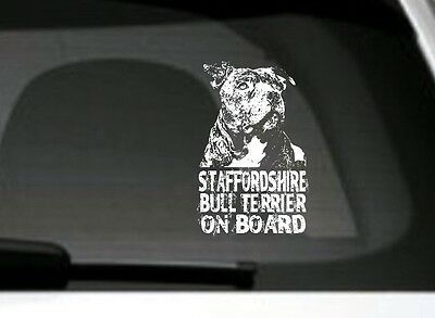 Staffordshire Bull Terrier On Board,Car Sticker,Detailed, Great Gift Dog Lover