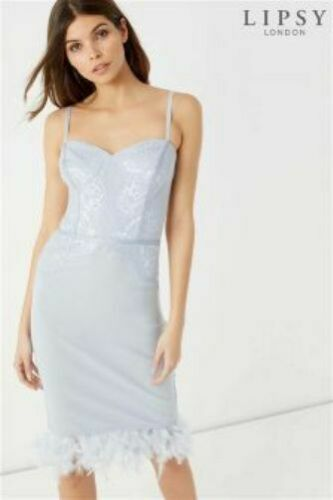 New LIPSY Grey Silver Lace Sweetheart Feather Bodycon Midi Dress 10 12 14 £68