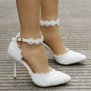 Womens White Lace Pearl Wedding Sandals High Heels Pointy Toe Ankle ... 2cfb37235e