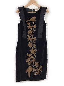 Trelise-Cooper-Black-Velvet-Beaded-Bird-Dress-Size-10-Frill-Ruffle-Floral-Womens