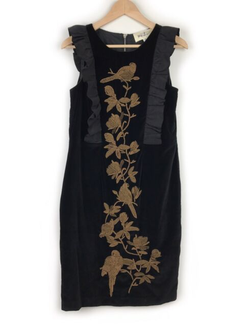 Trelise Cooper Black Velvet Bird Dress Size 10 Frill Beaded Flowers Evening