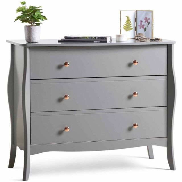 Beautify Grey 3 Drawer Chest Of Drawers Vintage Style With Rose Gold