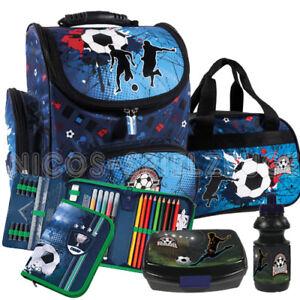 3de8383323446 Das Bild wird geladen Fussball-Soccer-Schulranzen-Schulranzenset-Tornister- Ranzen-Set-Sporttasche-
