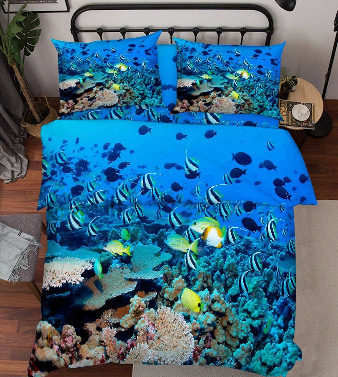 3D Fish Ocean Bule 86 Bed Pillowcases Quilt Duvet Cover Set Single Queen UK Kyra