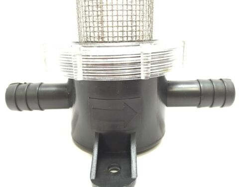 """MARINE BOAT PC IN-LINE STRAINER SS LARGE MESH FILTER FOR 0.5/"""" HOSE CLEAR COVER"""