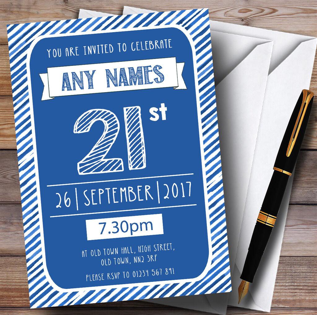 Blau & Weiß Stripy Deco 21st Personalised Birthday Party Invitations