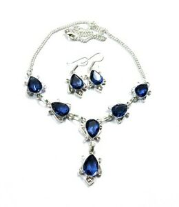 Beautiful-Blue-Violet-Tanzanite-Quartz-925-Silver-Plated-Necklace-Earring-Set