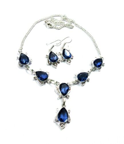 Beautiful! Blue Violet Tanzanite Quartz 925 Silver Plated Necklace Earring Set