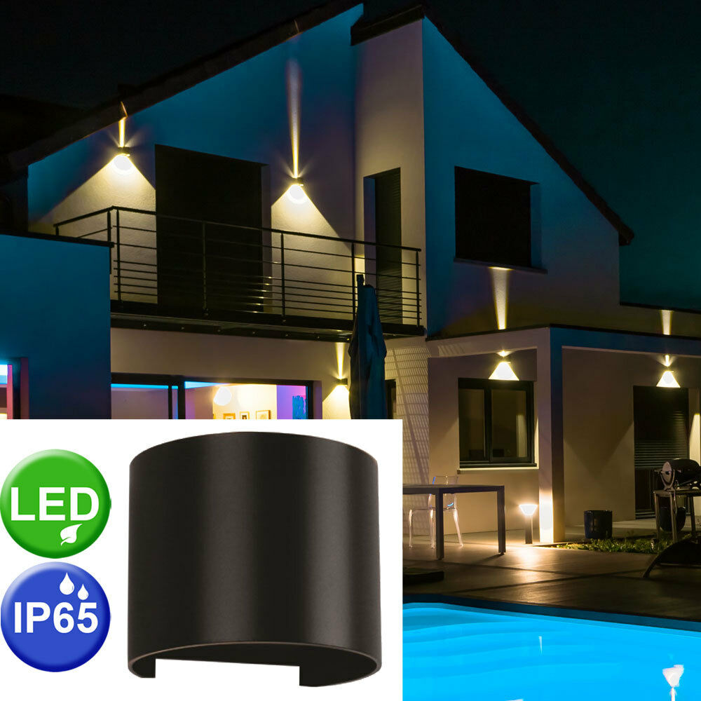 LED outdoor area wall light patio effect UP DOWN lamp wing movable modern new