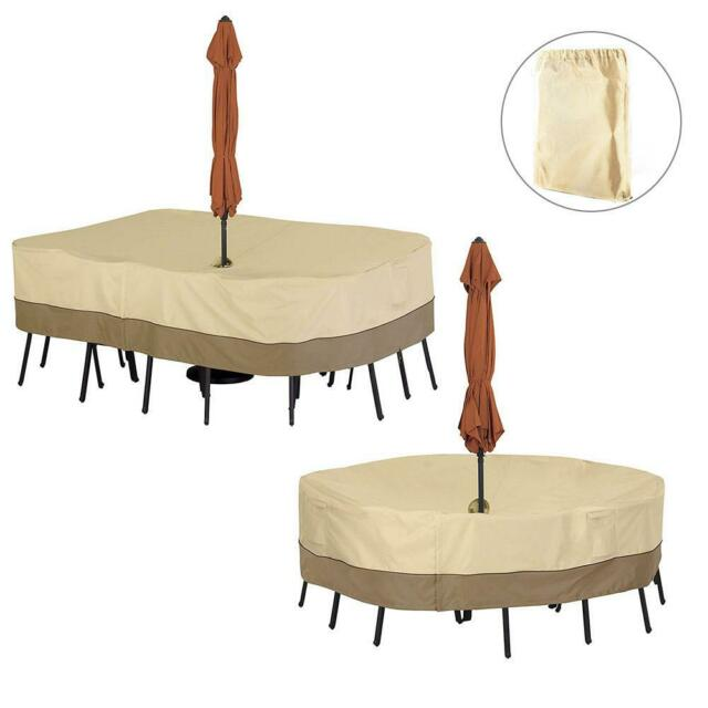 Round Dining Table 105cm Umbrella Hole, Outdoor Patio Dining Table With Umbrella Hole