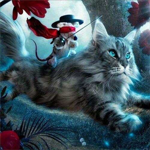 Hazlo tú mismo 5D puntada cruzada Craft Bordado De Pintura De Diamante Kit de arte decoración de casa gato