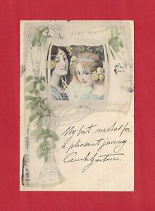 Art Nouveau Illustration 3 pretty young women Vienna Vintage postcard M.M Austria