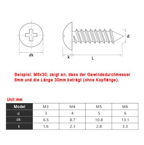 Holzschraube Blechschrauben Edelstahl V4A Flachkopf mit Kreuzschlitz M3 M4 M5 M6
