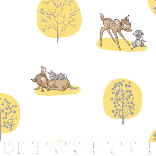 Disney Bambi Forest Scene Yellow Camelot 100/% cotton fabric by the yard