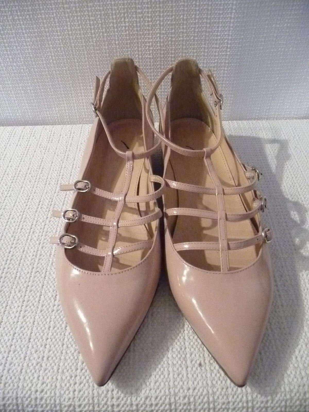 NEW J.CREW CAGED FLATS IN GLOSSY LEATHER, F5530, SIZE 7, PALE BLOOM,  168