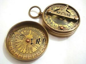 Brass Pocket Sundial Compass w// Lid ~ Antique Finish ~ Nautical Maritime