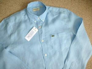 a6091110 Details about Genuine LACOSTE M (40) or M/L (41) LINEN LONG SLEEVE Shirt  Lagoon Lin CH6297-00