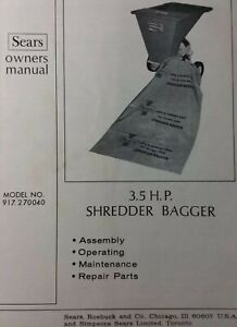 Details About Sears 3 5 H P Shredder Wood Chipper 917 270040 Lawn Garden Owner Parts Manual