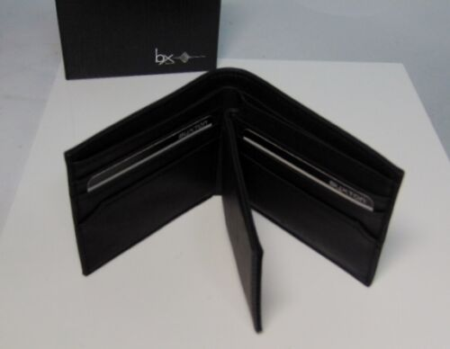 NEW Mens RFID Block BIFOLD WALLET /& Removable PASSCASE Buxton Black Faux Leather