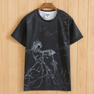 Anime Fate//EXTELLA Saber Otaku Unisex T-Shirt Tops Cool Short Sleeve Casual #X86