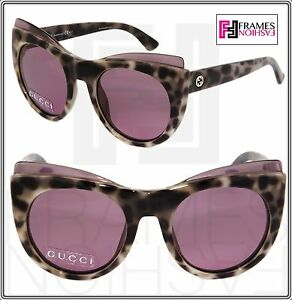 GUCCI GG3781S Cat Eye White Havana Sunglasses Pink Mirror ...