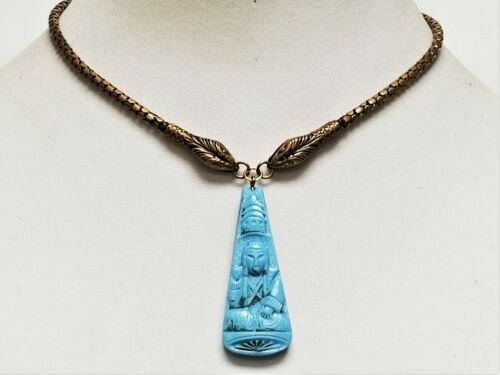 Vintage NEIGER Czech Blue Glass Egyptian Revival D