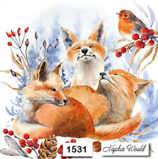 (1531) TWO Individual Paper Luncheon Decoupage Napkins - FOXES ROBIN WINTER SNOW