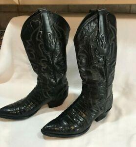 TONY-LAMA-Black-Leather-Cowboy-Western-Boots-Women-039-s-Size-6-5-M-Pointed-Toe