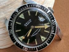 Vintage Orvin Divers Watch w/Mint Glossy Black Dial,Deep Patina,Roulette Date