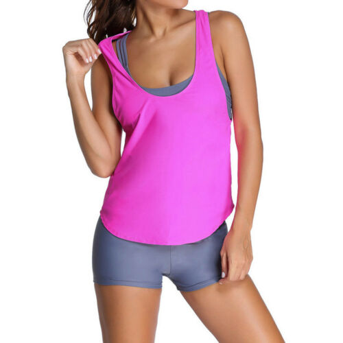 3Pcs Women Tankini Sets Sporty with Boy Shorts Bikini Swimming Bathing Swimwear