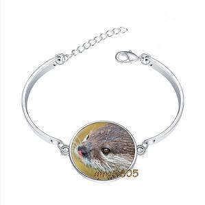 Free-Shipping-Otter-Bracelet-Photo-Glass-Cabochon-Tibet-silver-Bracelets
